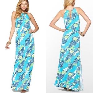 Lilly Pulitzer Inna Maxi Dress Turquoise Sound The Horn Jersey Size XS